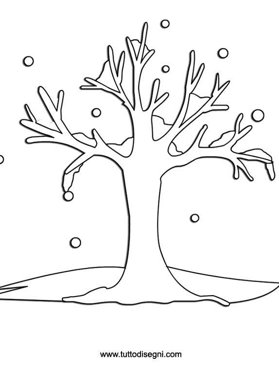 Inverno Da Colorare Albero Con La Neve Tuttodisegni Com Winter