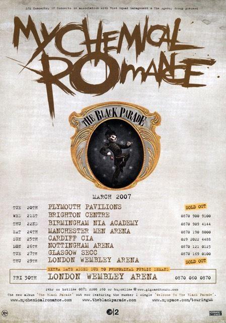 My Chemical Romance Tour >> Details About My Chemical Romance The Black Parade 2007 Uk Tour