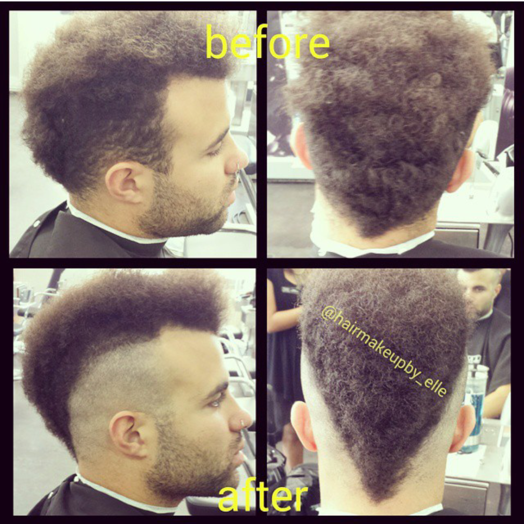 Before And After Gents Tight Curl Haircut Faux Hawk Mohawk Hairmakeupby Elle At Jolsalon Point Loma S Best Hair Salon Blonde Eyebrows Brunette To Blonde