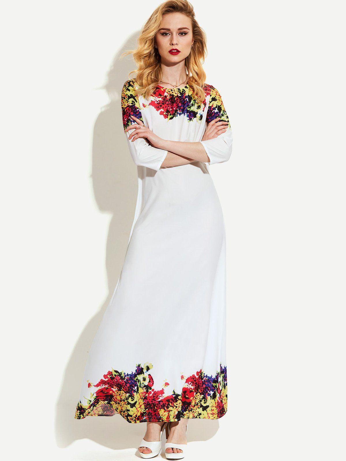 Dresses by borntowear flower print full length dress dresses
