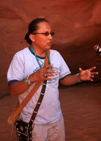 """Antelope Slot Canyon - Mystery, Light and Unparalleled Beauty Awaits You: """"Chief """" Ray Tsosie, Antelope Canyon Guide, Briefs Us Before Entering"""