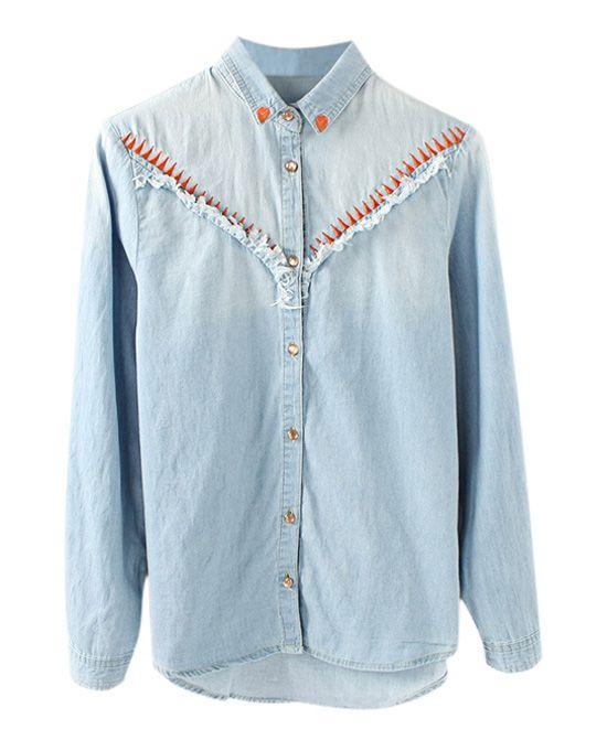 bc2b2287c2e Vintage Style Washable Blue Lapel Collar Long Sleeve Rough Edge Denim Blouse