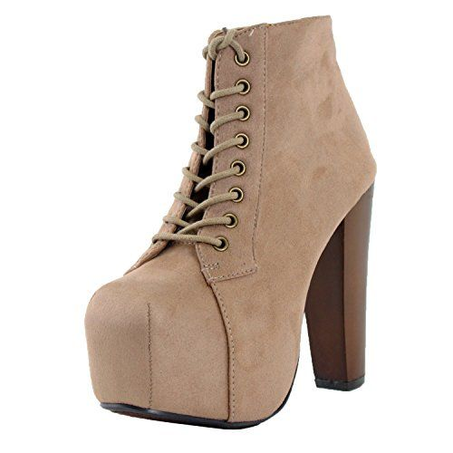 Women's High Heel Lace Up Ankle Boots Platform Booties