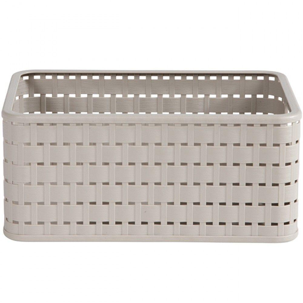 Panier Imitation Osier Beige 6 L In 2020 Outdoor Storage Storage Box Outdoor Furniture
