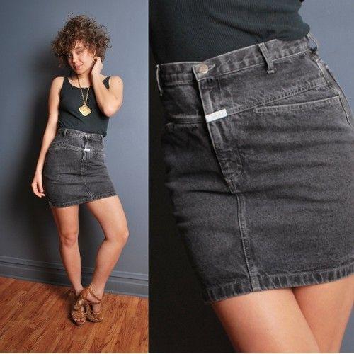 540b30a56c Details about Vintage 80s/90s S black denim high waist mini jean ...