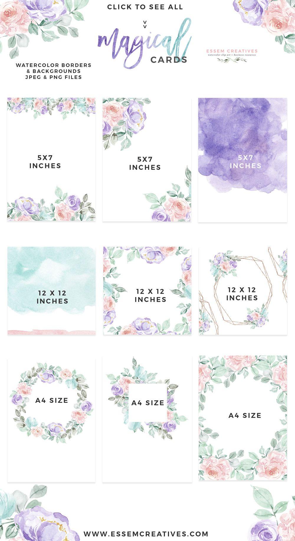 Watercolor Floral Card Border Png Background Vintage Purple Pink