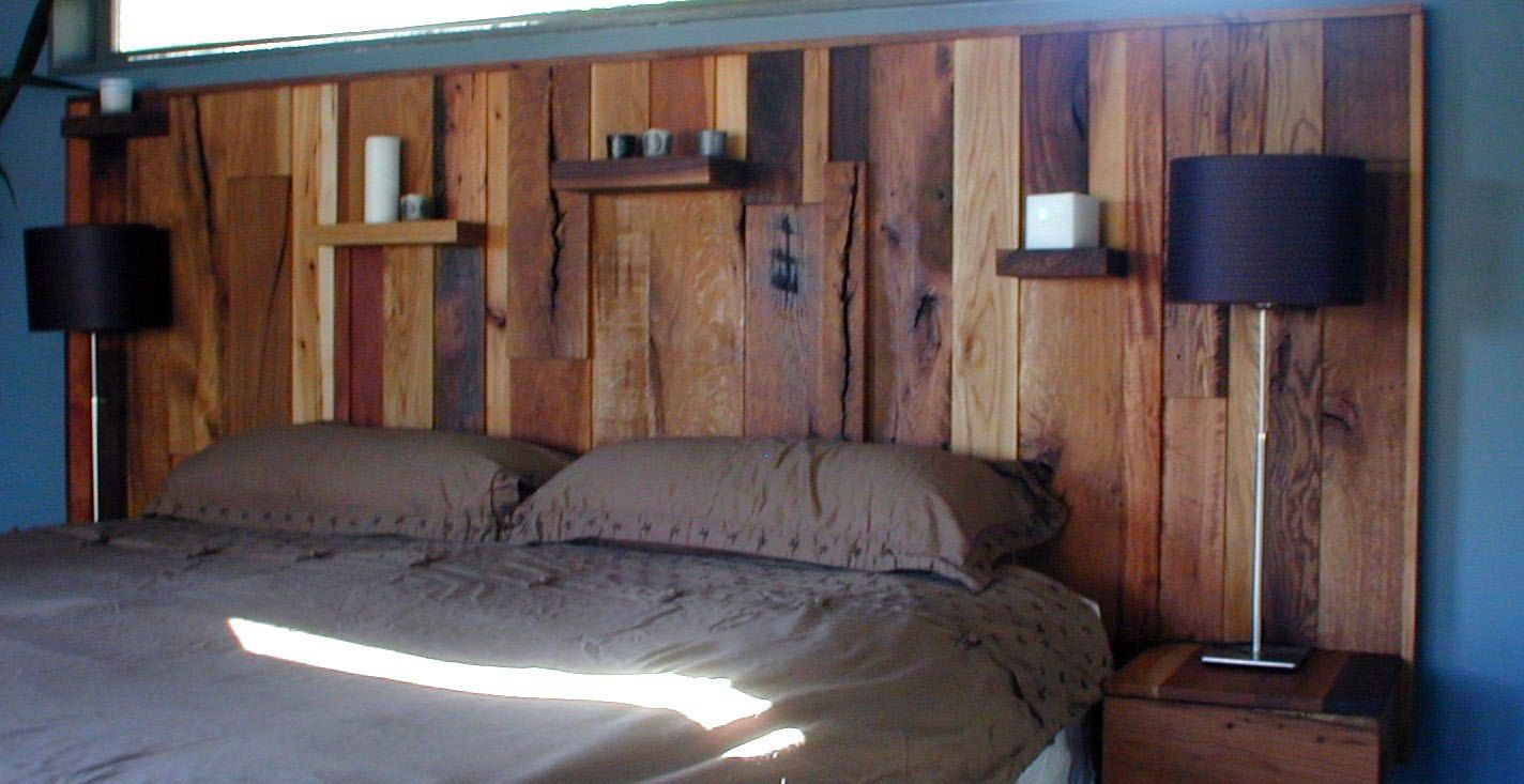 King Size Wood Headboard Upcycled Stacked Wood With Integrated Nightstands Modern Rustic 2 500 00 Via Wood Headboard Modern Bedroom Headboards For Beds