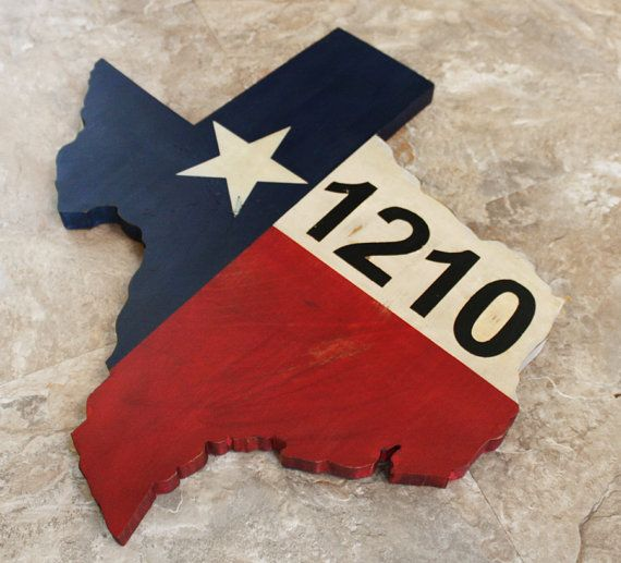 Texas Flag House Number Sign 20 22 24 Rustic Curb