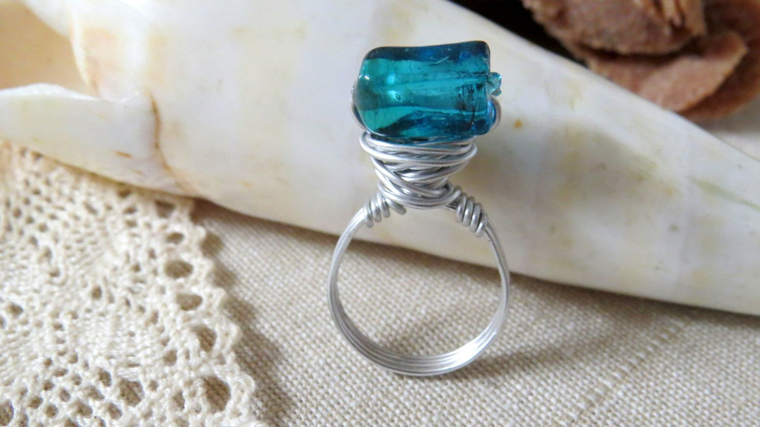 Blue High Bead Ring - Custom Made - Wire Wrapped Ring - Statement Ring - Bridesmaid Ring - Party Ring by KatesFrenchEmporium on Etsy