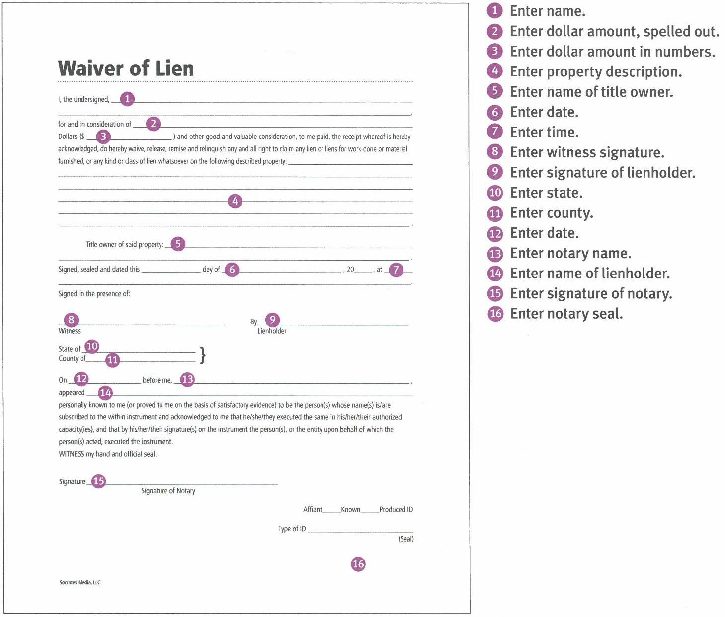 Waiver Of Lien  StepByStep Instructions Easy To User  Complete