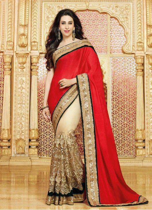 #Letest # Karishma_kapoor #Red & Golden Net & Chiffon Heavy Embroidery Jari Work Saree