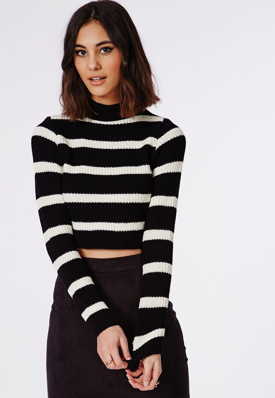 Striped High Neck Crop Jumper Black/Cream - Knitwear - Missguided ...