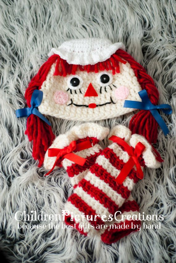Raggedy Ann hat and leg warmers set for by ChildrenCreations, $40.00