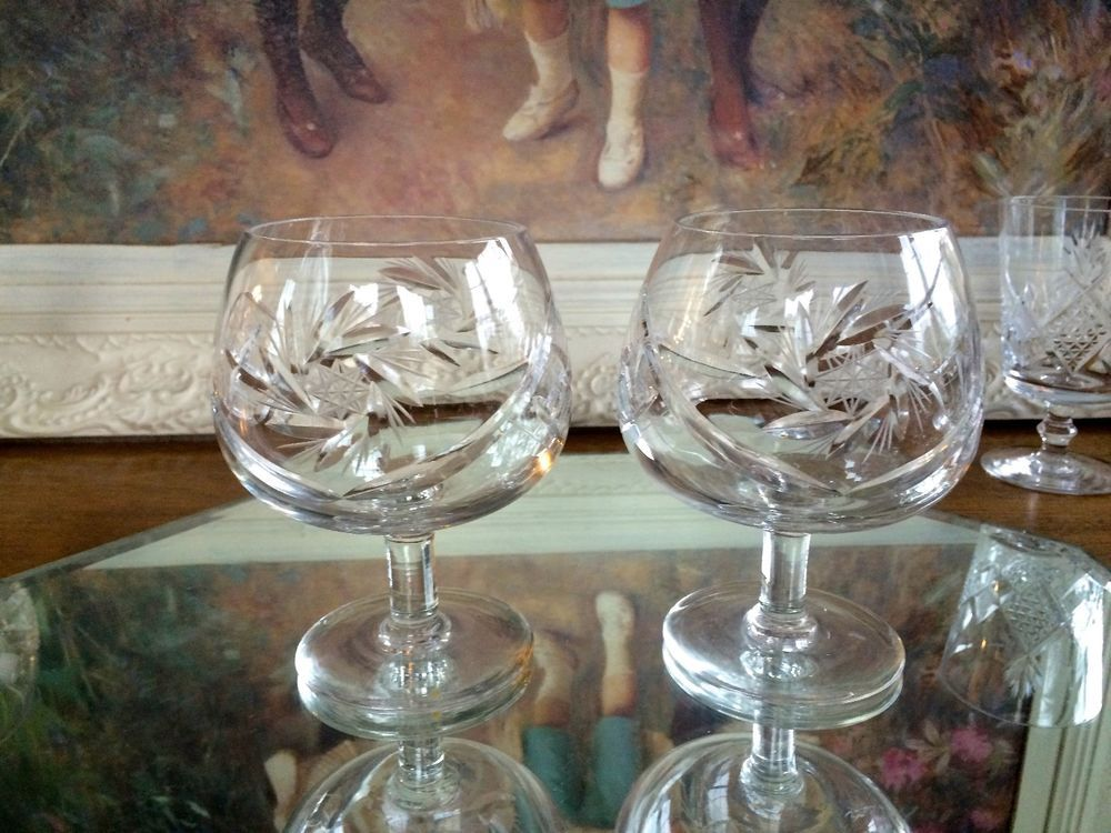 2 VINTAGE GRAND MARNIER CRYSTAL BRANDY SNIFTERS STEMMED CORDIAL Cut Glass Patter