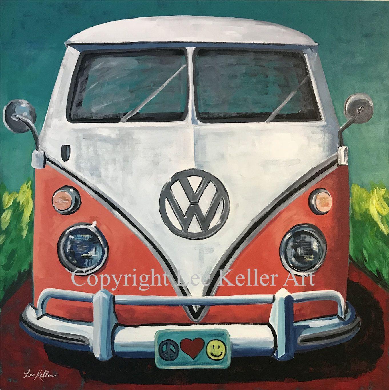 Hippie Van Art Volkswagen Van Art Print Volkswagen Bus Art Etsy Bus Art Hippie Van Art Volkswagen Bus Art