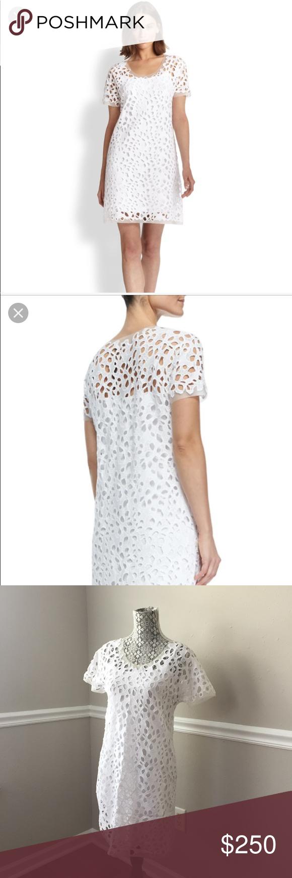 Elie Tahari Maissa Lace Dress In White Gorgeous Brand New Lace Midi Dress Slip Dress With Adjustable Straps Underneath Per Lace Dress Lace Midi Dress Dresses [ 1740 x 580 Pixel ]