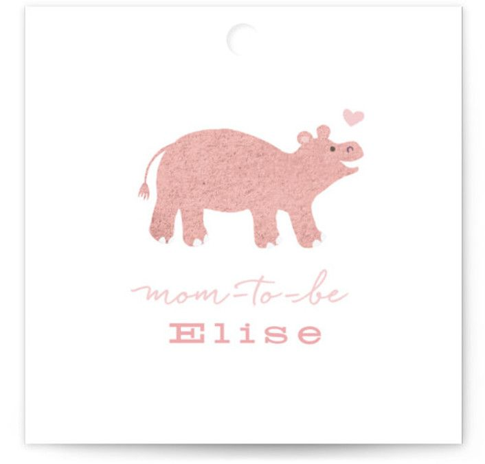 Baby Hippo Baby Shower Favor Tags