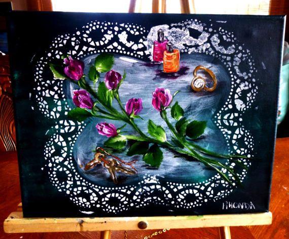 11x14 original acrylic painting six pink by AffordableARTbyRonda