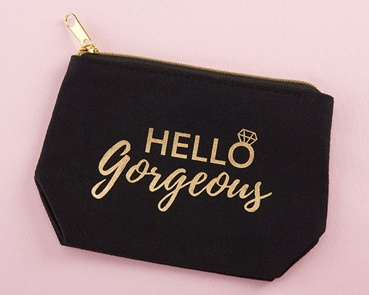 "Show your bridesmaids just how beautiful they are with this gold and black ""Hello Gorgeous"" makeup bag! 