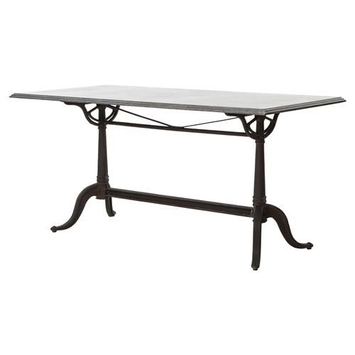 Pierre French Industrial Bluestone Bistro Dining Table 64 Inch