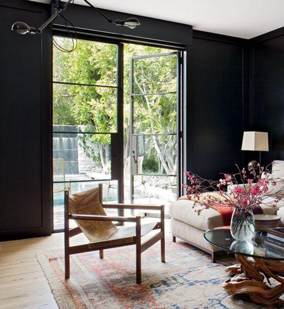 Interior Design Inspiration From Roger Davies Portfolio: Study Room With Black Walls. Photo: Roger Davies For