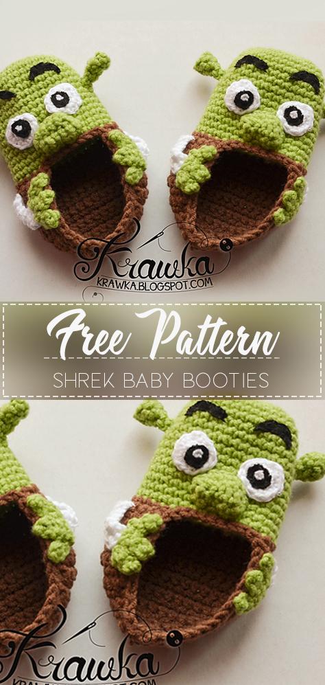 d2faba05d761 Shrek Baby Booties – Free Crochet Pattern – Crochet Love