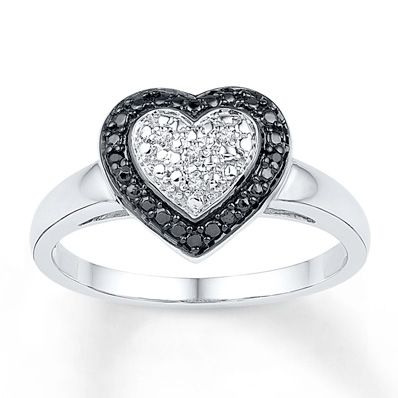 Artistry Diamonds Heart Ring Blue & White Diamond Accents Sterling Silver