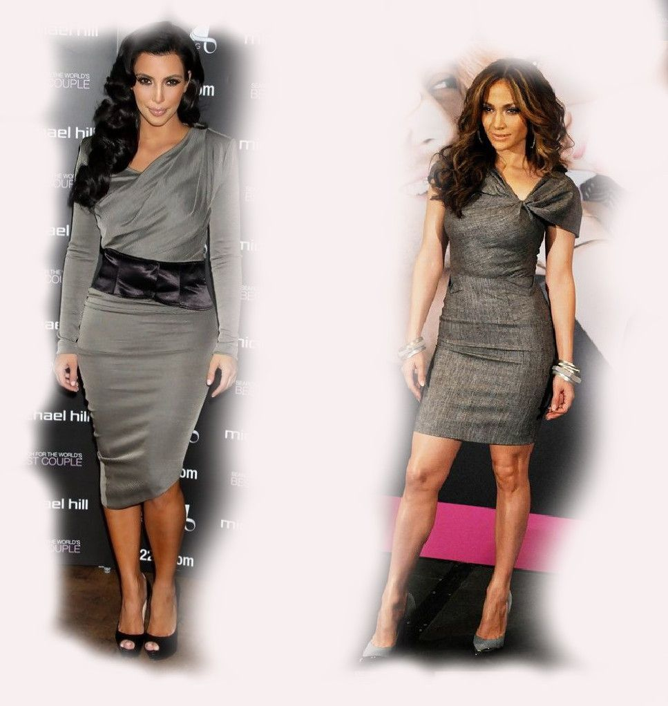 grey dress Kim Kardashian VS Jennifer Lopez (JLo) fashion diva who-wore-it-better celeb celebrity