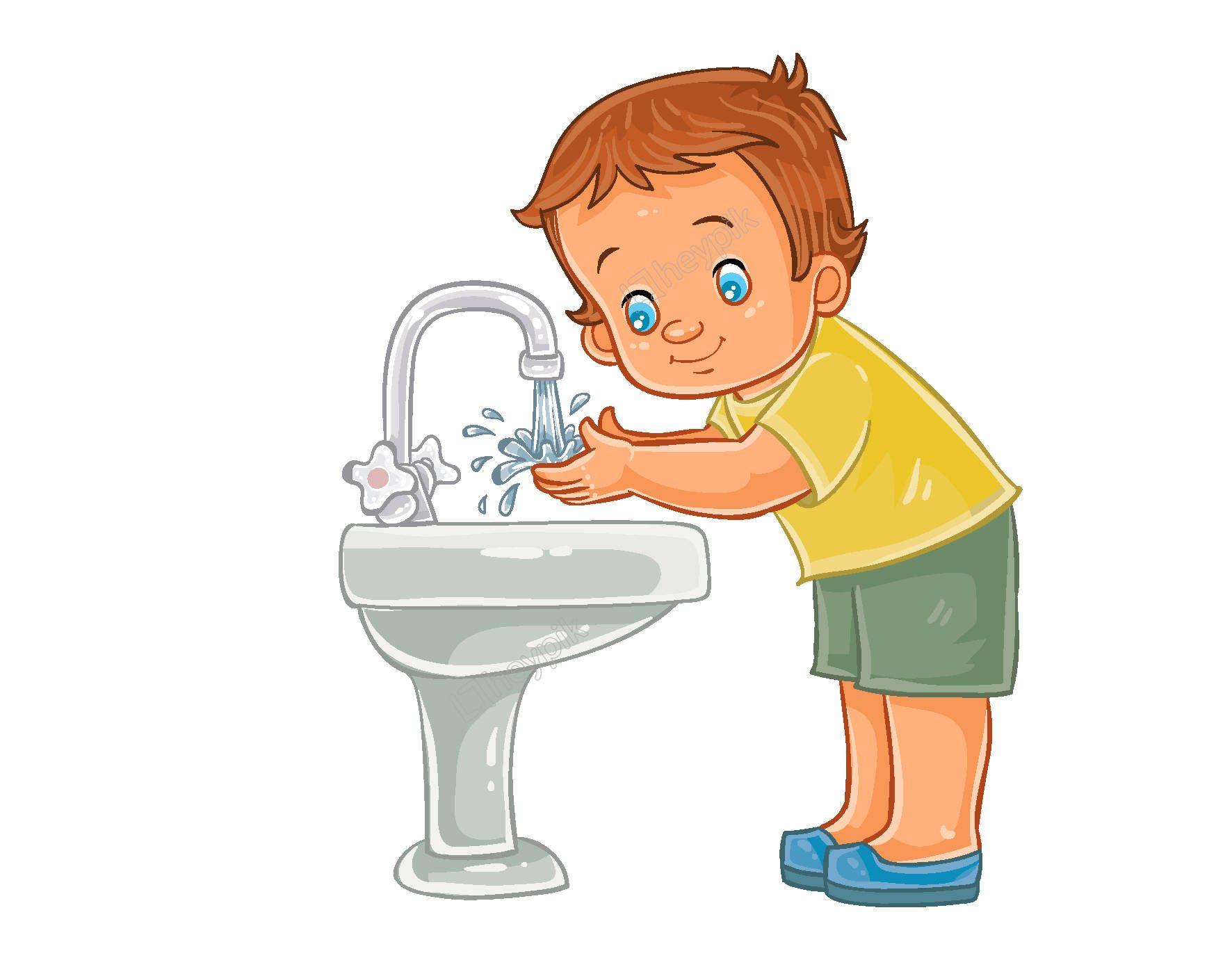 Hand Draw Cartoon Characters Wash Their Hands Hygiene