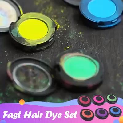 Hot 6pcs / set Temporary Hair Dye Powder Cake Hair Color Bun