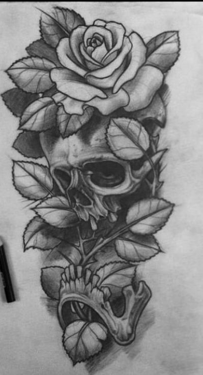 50 Skull Pencil Drawing Ideas Art Skull Rose Tattoos Skull Tattoo Flowers Forearm Tattoo Design