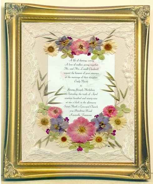 Framed wedding invitation wedding memory after for Wedding invitations with real flowers