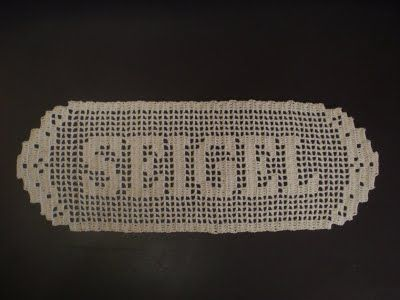 filet crochet name doilies. Hoping my crocheting cousing Chris can ...