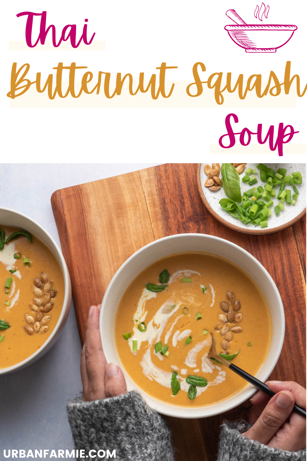 Thai Curried Butternut Squash Soup With Coconut Milk Urban Farmie Recipe Curried Butternut Squash Soup Vegetable Soup Recipes Butternut Squash Soup