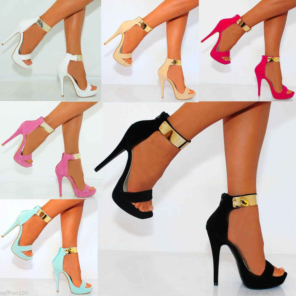 Black sandals gold bar - Details About Gold Metal Ankle Cuff Strap Strappy Sandals Peep Toes Stiletto High Heels Shoes