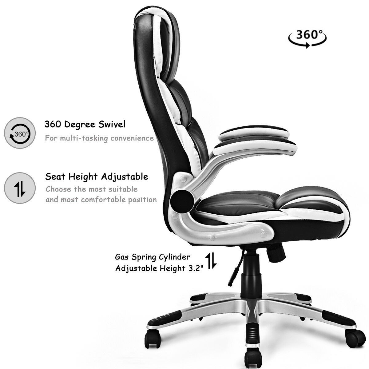 Pu Leather High Back Executive Swivel Office Chair Swivel Office
