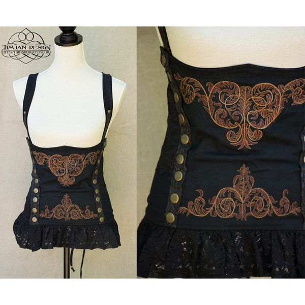 54c0217fb7 Mistress Steampunk Corset Pirate Cabaret Steam Punk Burlesque... ( 101) ❤  liked on Polyvore featuring tops