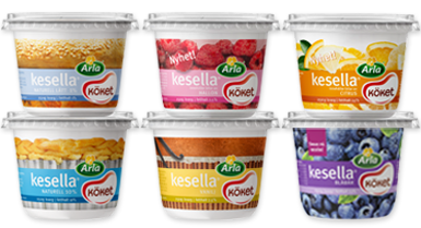 Arla Köket Kesella Yogurt packaging, Yogurt cups, Food