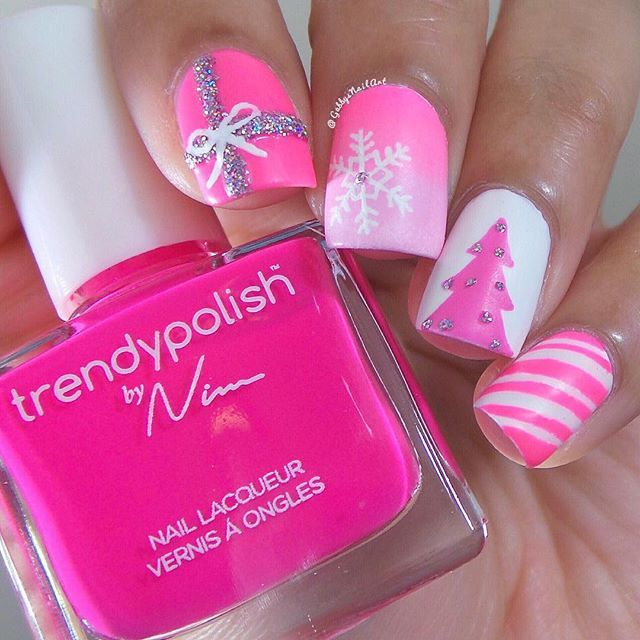 pink christmas nails color