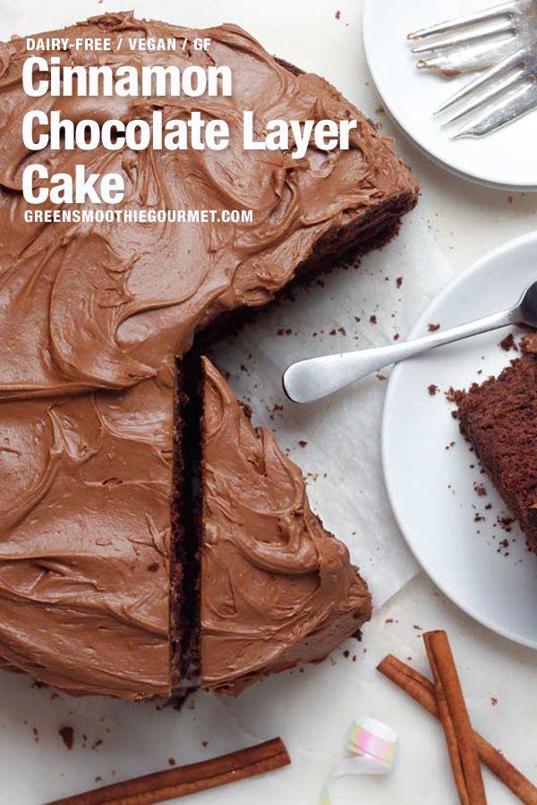 Simple Cinnamon Chocolate Layer Cake (dairy-free, vegan, gluten-free, oil-free) #easychocolatecake