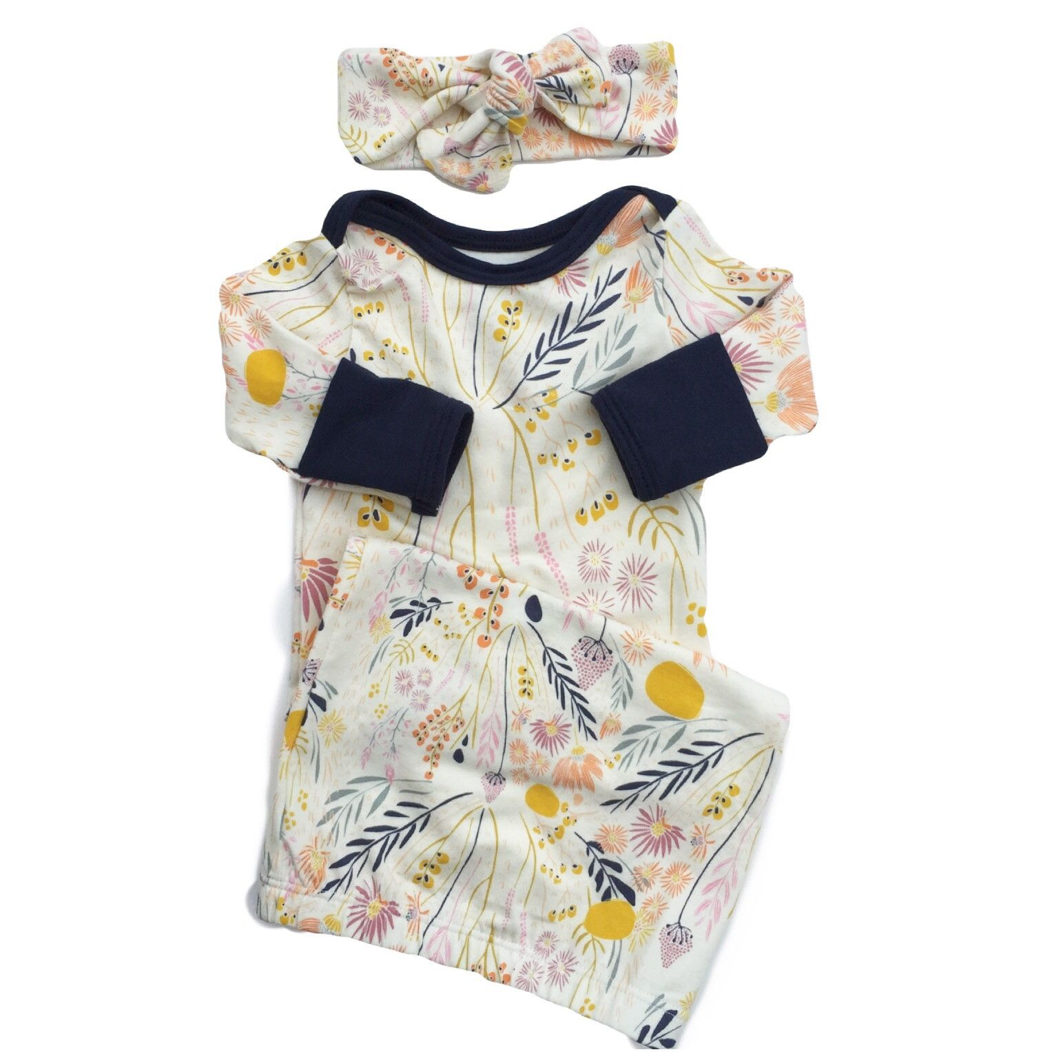 Wispy Wildflowers Layette Gown with Navy Accents | Layette, Baby ...