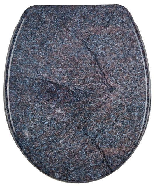 ausgefallener wc sitz mit tuschend echten steindekor aus duroplast von sanwood ausgestattet mit absenkautomatik