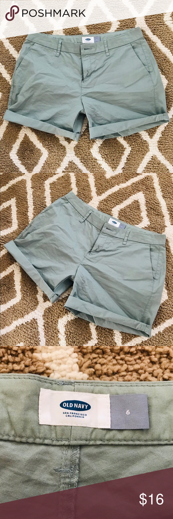 OLD NAVY khaki green chino shorts 6 preppy Cute Old Navy shorts Only worn  once Stylish 0eb969bd54af