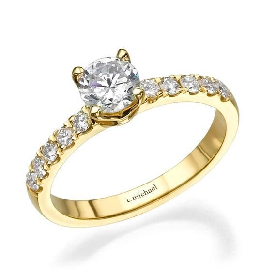 Solitaire Engagement Ring 14k Yellow Gold Ring Diamond Ring