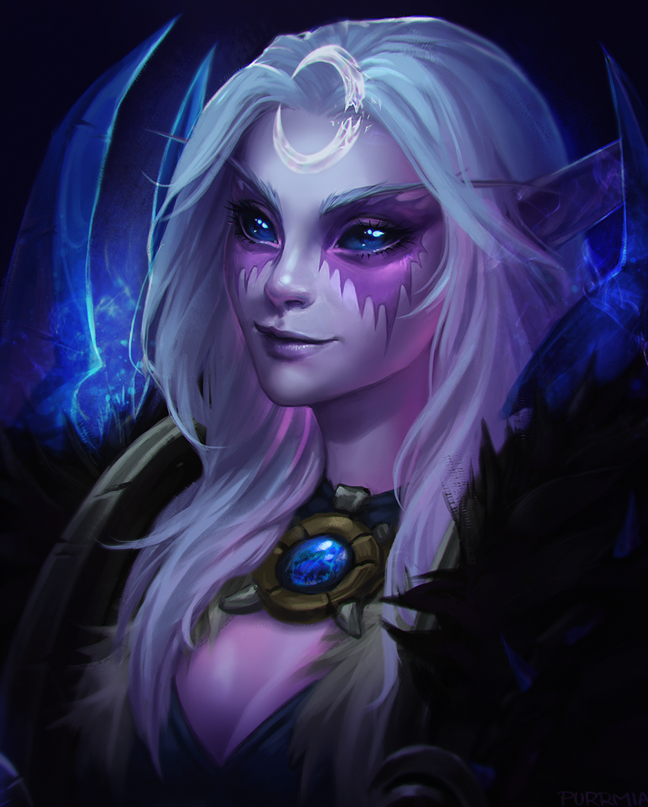 Lunarpaw My Night Warrior Druid Art By Purrmia Wow Warcraft Art World Of Warcraft Elf Art