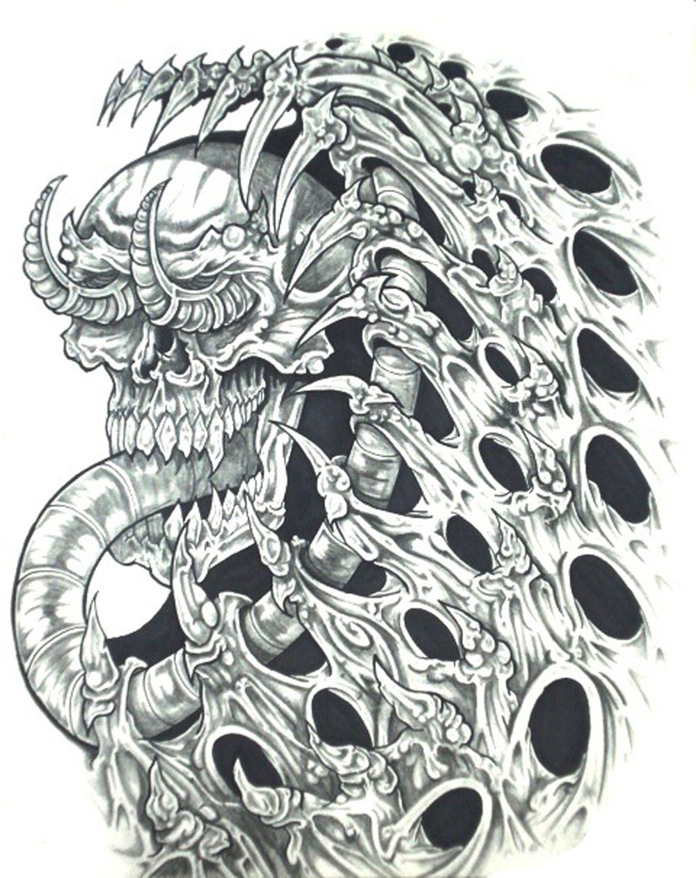 Biomech skull horror tattoo design http tattoosaddict com biomech
