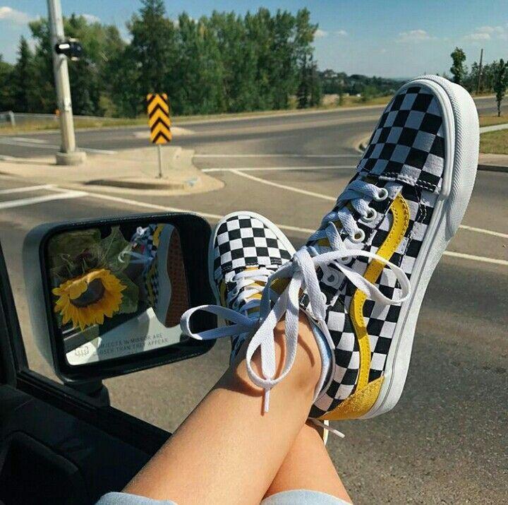 Vans carreaux noir et blanc jaune moutarde #shoegame Vans carreaux ...