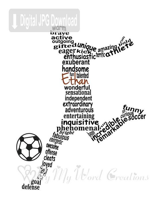 Personalized Boy Soccer Player Word Art, Football Player Digital Wall Art, Personalized Soccer Player Gift, PRINTABLE DIGITAL FILE