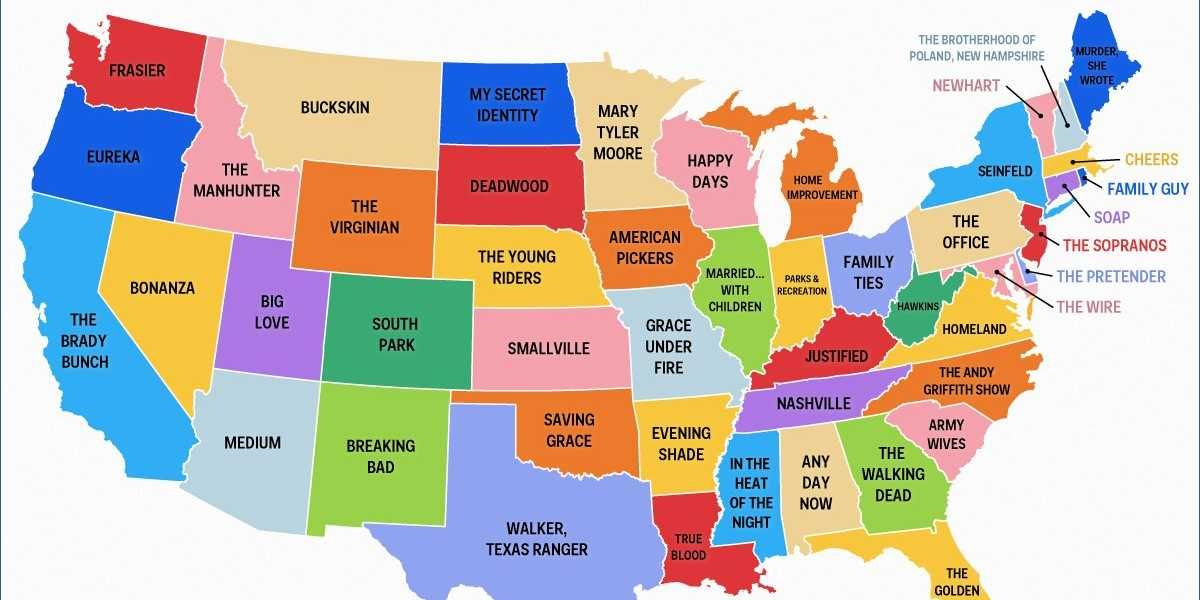 52 States Of America Map This Map Shows The Most Popular TV Show Set In Every State | Most
