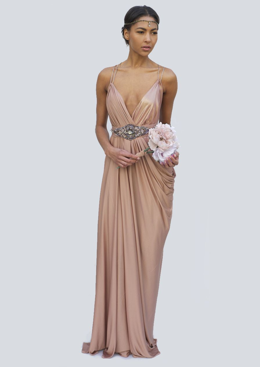 Lois London Rose Gold Grecian Draped Gown. Get it here: https://www ...
